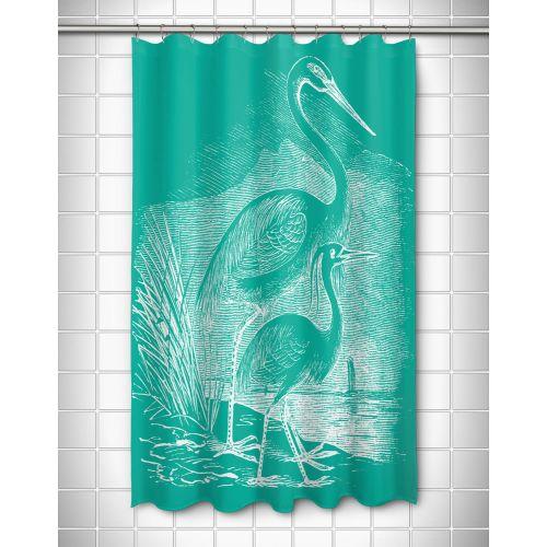 Island Girl Vintage Egrets Shower Curtain White On Aqua