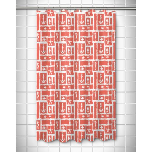 Island Girl Ocean Squares Coral Shower Curtain