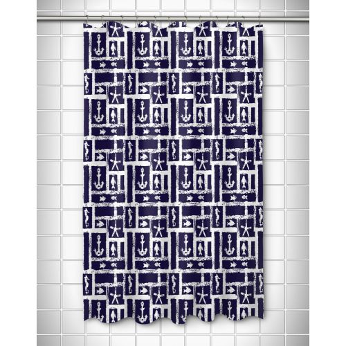 Island Girl Ocean Squares Navy Shower Curtain