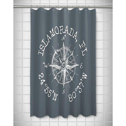 Island Girl Custom Compass Rose Coordinates Shower Curtain Gray