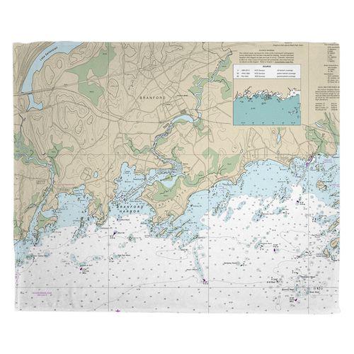Branford Ct Nautical Chart Fleece Throw Blanket Save Now