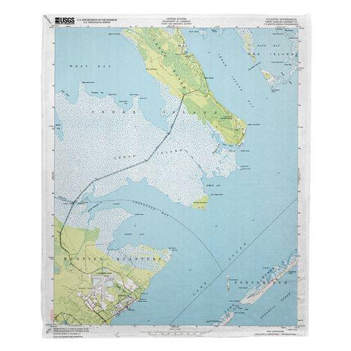 Atlantic Nc 1949 Topo Map Fleece Throw Blanket On Sale