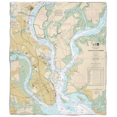 Sc Charleston Nautical Chart Fleece Throw Blanket