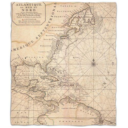 Old World Nautical Chart Fleece Throw Blanket