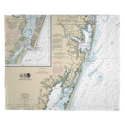 Ocean City Md Nautical Chart Fleece Throw Blanket On Sale