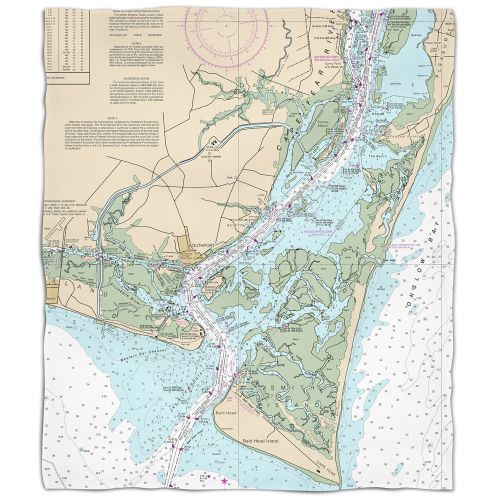 Nc: Oak Island, Southport, Bald Head Island, Nc Nautical Chart Fleece Throw Blanket