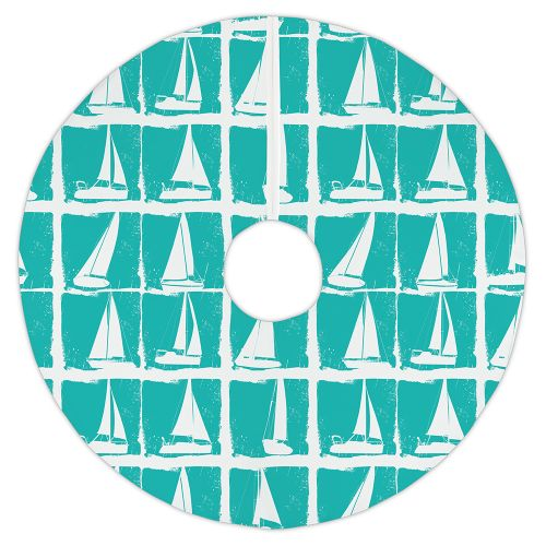 Aqua Christmas Tree Skirt: Island Girl Regatta Aqua Christmas Tree Skirt