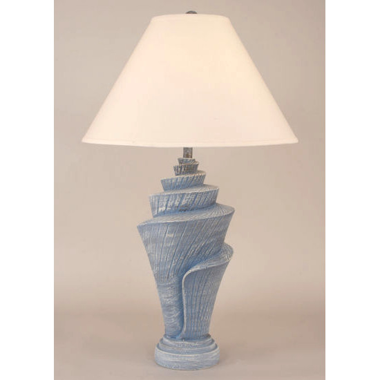 Conch Shell Pot Table Lamp   Cottage Wedgewood Blue