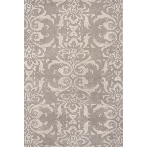Gray Area Rug 8x11: Jaipur Contemporary Damask Pattern Gray Wool And Art Silk