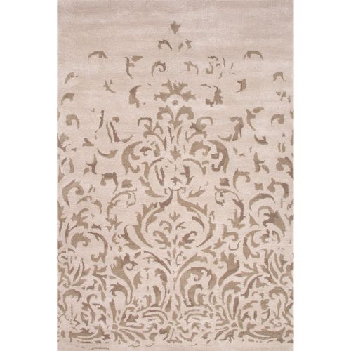 8x11 Modern Area Rugs: Jaipur Contemporary Damask Pattern Ivory/Gray Wool Area