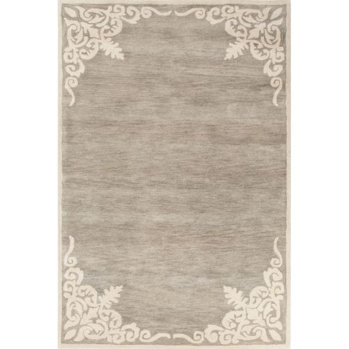 Area Rug Persian 9x12 Oriental Carpet Ivory Wool: Jaipur Contemporary Border Pattern Gray/Ivory Wool Area