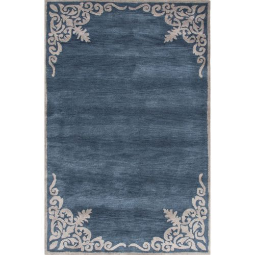 Jaipur Contemporary Border Pattern Blue Ivory Wool Area