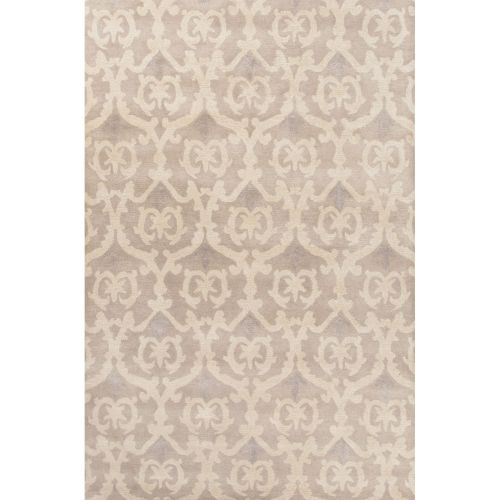 8x11 Modern Area Rugs: Jaipur Contemporary Damask Pattern Gray/Ivory Wool Area