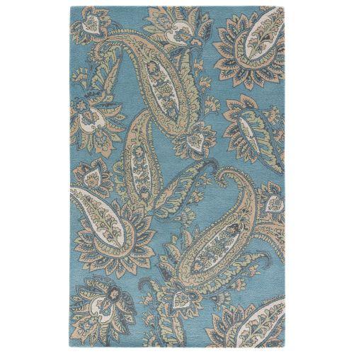 Navy Paisley Rug: Jaipur Contemporary Paisley Pattern Blue/Yellow Wool Area