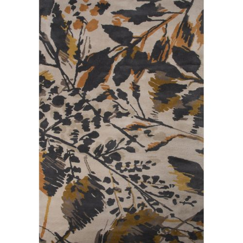 Gray Area Rug 8x11: Jaipur Contemporary Floral & Leaves Pattern Gray/Orange