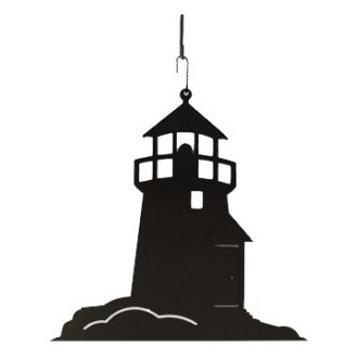 Lighthouse Silhouette Wrought Iron Hanging Art