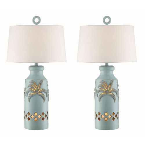 Glacier Blue Palm Tree Night Light Table Lamp Set Of 2