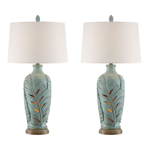 Glacier Blue Leaf Night Light Table Lamp On