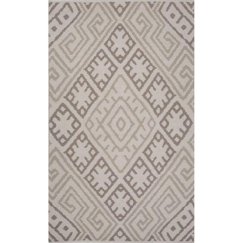 Gray Area Rug 8x11: Jaipur Flatweave Tribal Pattern Gray Cotton Area Rug (8x11