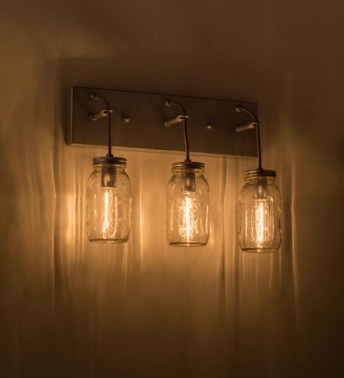 "Mason Jar Vanity Light: Medya Tiffany 18""W Mason Jar 3 LT Vanity Light"