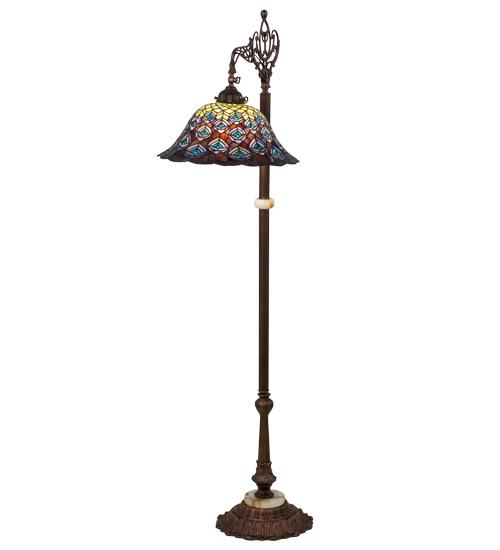 medya tiffany 61 h tiffany peacock feather bridge arm floor lamp. Black Bedroom Furniture Sets. Home Design Ideas