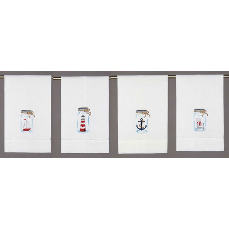 Nautical Guest Towels: Nautical Mason Jar Guest Towels (set Of 4