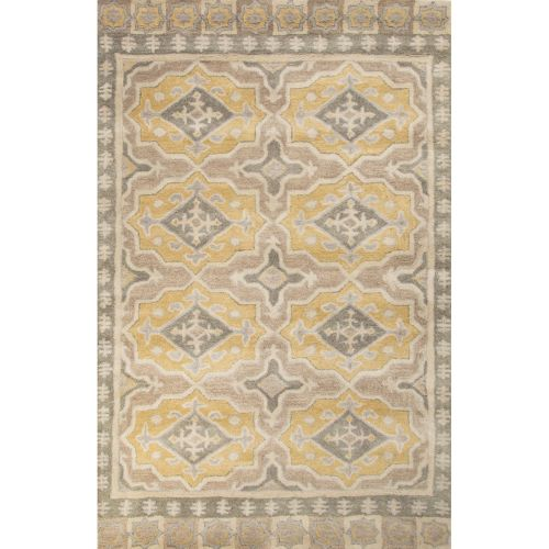8x11 Modern Area Rugs: Jaipur Contemporary Tribal Pattern Gray/Yellow Wool Area