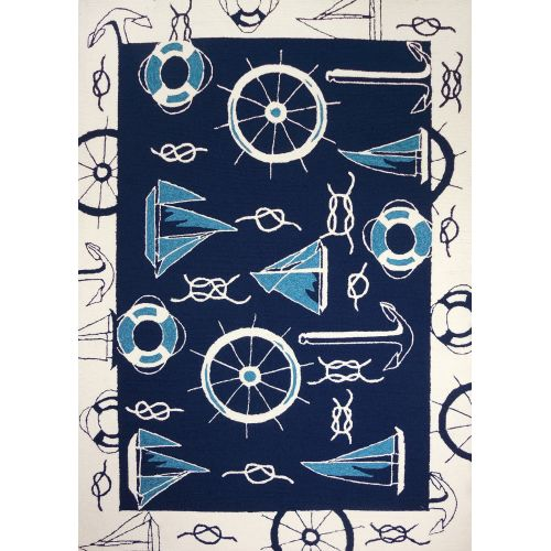 Homefires Indoor Outdoor Hooked Turquoise White Indoor: Blue And White Nautical Indoor Outdoor Area Rug, 5 X 7 By
