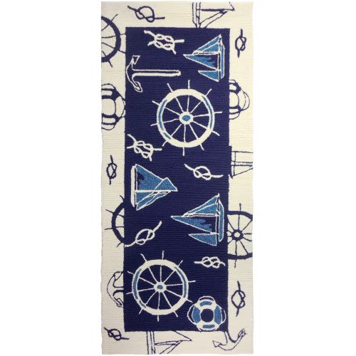 Homefires Indoor Outdoor Hooked Turquoise White Indoor: Blue & White Nautical Indoor Outdoor Rug, 26 X 60 By