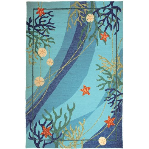 Sea Life Turtle Wave Rug2 Bath Mat: Underwater & Coral Starfish In/Outdoor Area Rug, 8 X 10 By