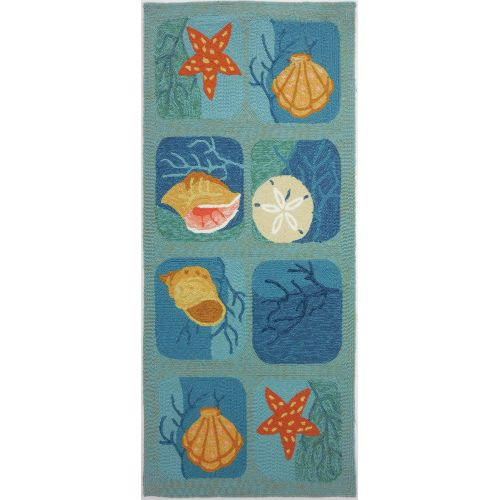 Shell Tile Aqua Indoor Outdoor Rug, 26 X 60 By Homefires Rugs