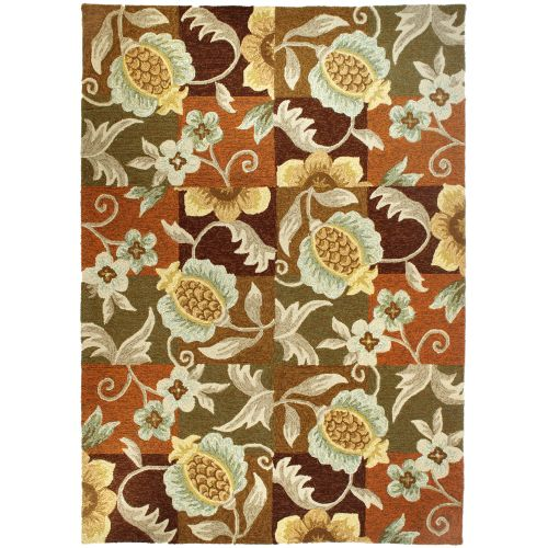 Tropical Pineapple & Flowers In/Outdoor Area Rug, 5 X 7 By