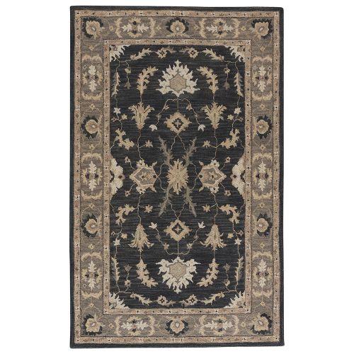 Gray 8x11 Area Rugs: Jaipur Classic Oriental Pattern Blue/Gray Wool Area Rug