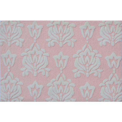 damask pink indoor outdoor rug tufted