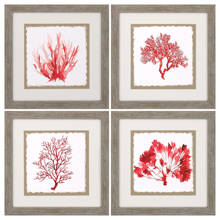 Red Coral Home Decor: Red Coral Framed Art Set Of 4