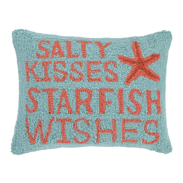Salty Kisses Starfish Wishes Hook Pillow
