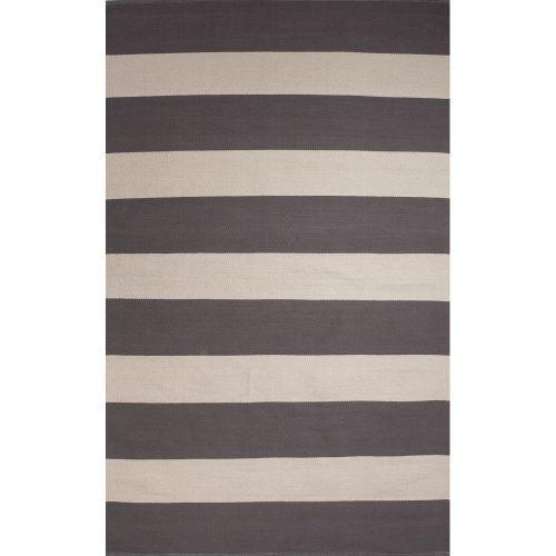 Gray Area Rug 8x11: Jaipur Flatweave Stripes Pattern Gray/White Cotton Area