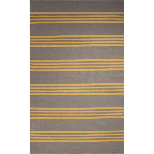 Gray 8x11 Area Rugs: Jaipur Flatweave Stripes Pattern Gray/Yellow Cotton Area
