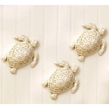 Set Of 3 Turtle Resin Wall Accents