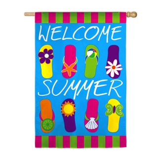 Summer flips garden size applique flag