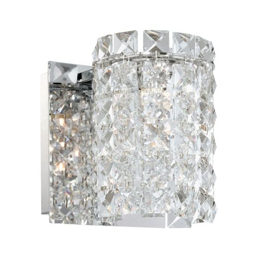 Beach Glass Vanity Light : Queen 1 Light Vanity In Chrome And Clear Crystal Glass