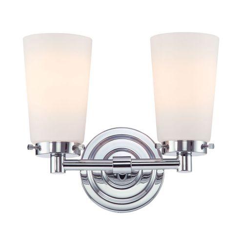 Beach Glass Vanity Light : Madison 2 Light Vanity In Chrome And White Opal Glass