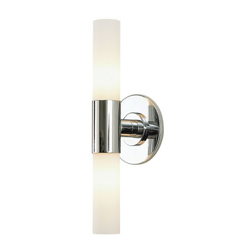 Double Cylinder 2 Light Vanity In Chrome And White Opal Glass