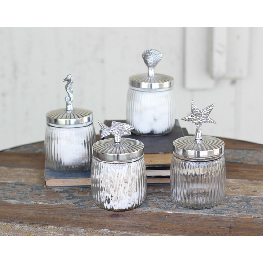 Coastal glass canister set for Glass bathroom canisters