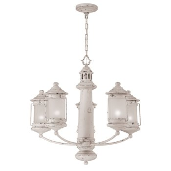 Lighthouse Chandelier with 5 Frosted Globe Lanterns
