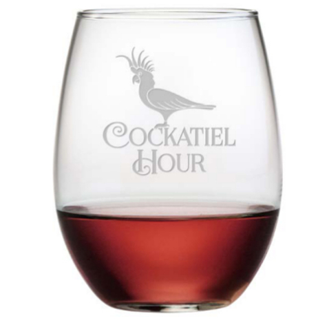 Cockatiel Hour Etched Stemless Wine Glass Set