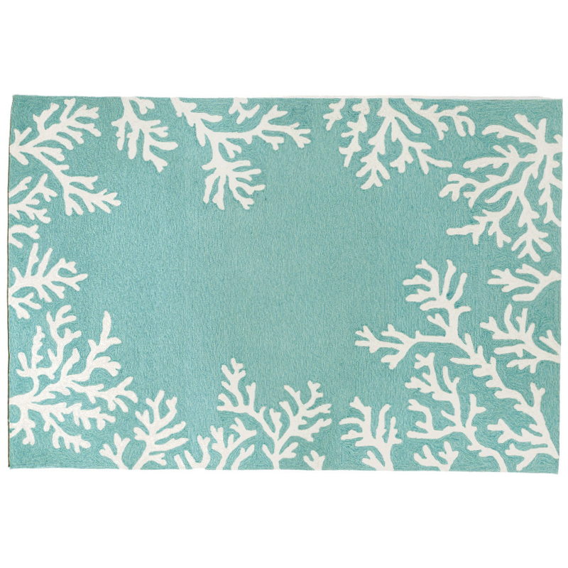 Coral Border Aqua Indoor Outdoor Rug