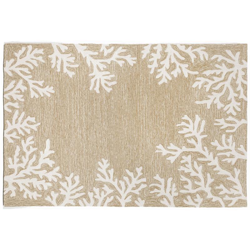 coral border neutral rug indoor outdoor rug