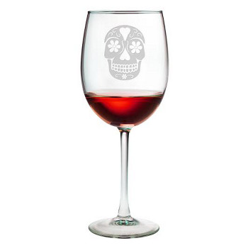 Day Of The Dead Etched Stemmed Wine Glass Set