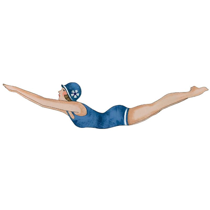 Retro Diving Girl Wall Plaque, Navy
